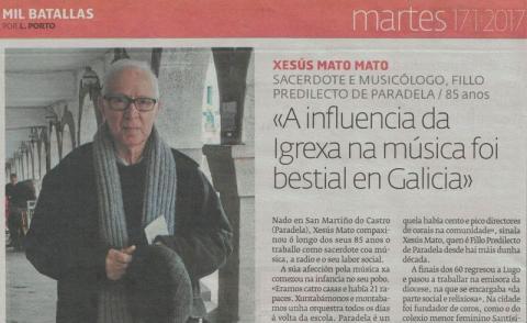 """Xesús Mato: """"A influencia da Igrexa na música foi bestial en Galicia"""""""
