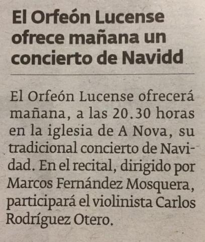 El Orfeón Lucense ofrece mañana un concierto de Navidad