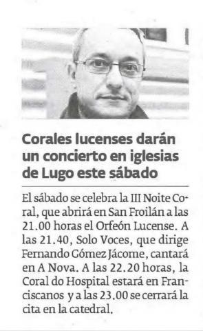 Colares lucenses darán un concierto en iglesias de Lugo este sábado