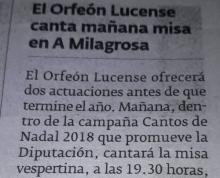 El Orfeón Lucense canta mañana misa en A Milagrosa