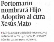 Portomarín nombrará Hijo Adoptivo al curo Xesús Mato